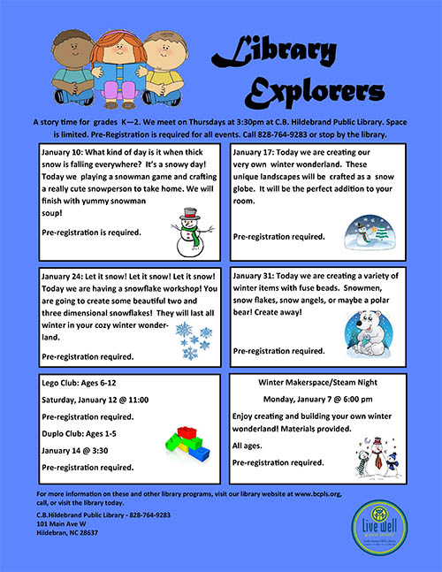 Library Explorers Flyer for January