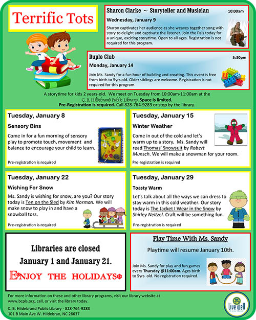 Terrific Tots Flyer for January