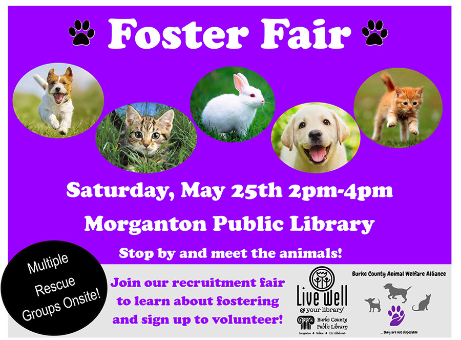 Foster Fair 			Saturday, May 25th 2pm-4pm 				Morganton Public Library 				Stop by and meet the animals!  				Multiple Rescue Groups on Site  				Join our recruitment fair 				to learn about fostering 				and sign up to volunteer!