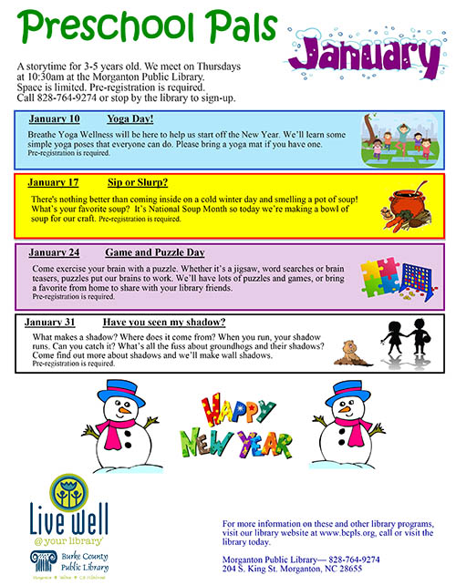 Preschool Pals Flyer for January