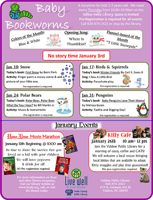 Baby Bookworms Flyer for January