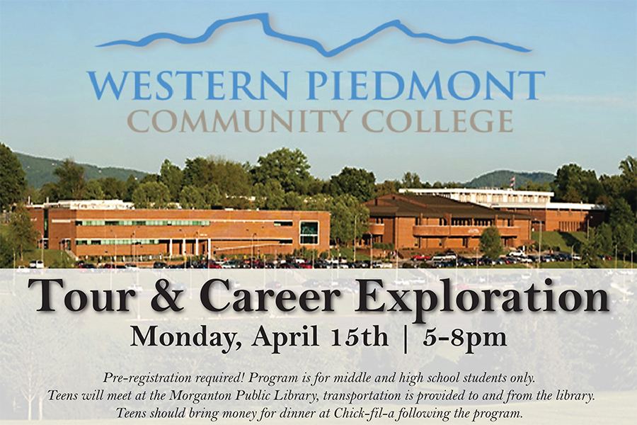 Tour & Career Exploration Monday, April 15th | 5-8pm Pre-registration required! Program is for middle and high school students only. Teens will meet at the Morganton Public Library, transportation is provided to and from the library. Teens should bring money for dinner at Chick-fil-a following the program.